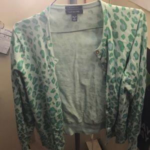 Green Leopard Print Cardigan